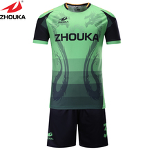 Sublimated Custom 2016 New style Soccer Sets Men  Training Football Short Sleeve Soccer Jersey shirt + shorts