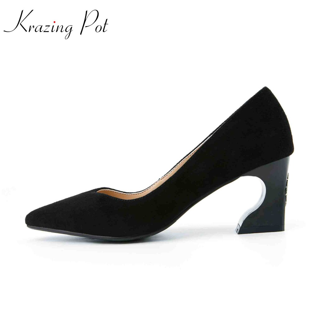 Krazing pot genuine leather fashion brand shoes pointed toe strange style heels women pumps shallow handmade luxury shoes L09 krazing pot fashion brand shoes genuine leather slip on pointed toe concise lazy style strange high heels women cozy pumps l73