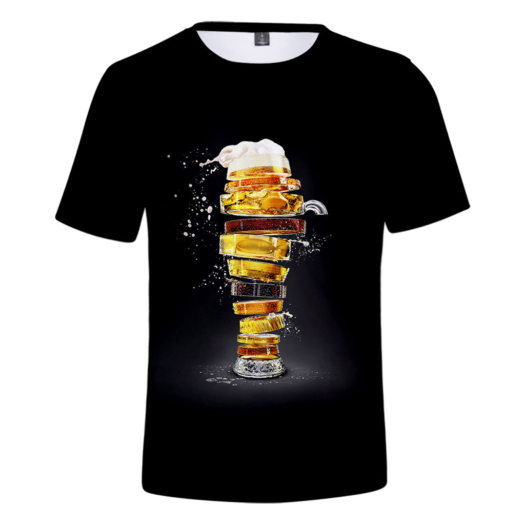 Men Clothing Tshirt Summer Beer Festival New Style 3d Printing O-neck Short Sleeve Loose Causal Blouse Tops Camiseta Masculina image