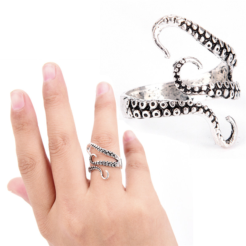 Fashion Jewelry Opened Adjustable Size Octopus Ring Cool Top Quality Gothic Deep Sea Squid Octopus Finger Ring