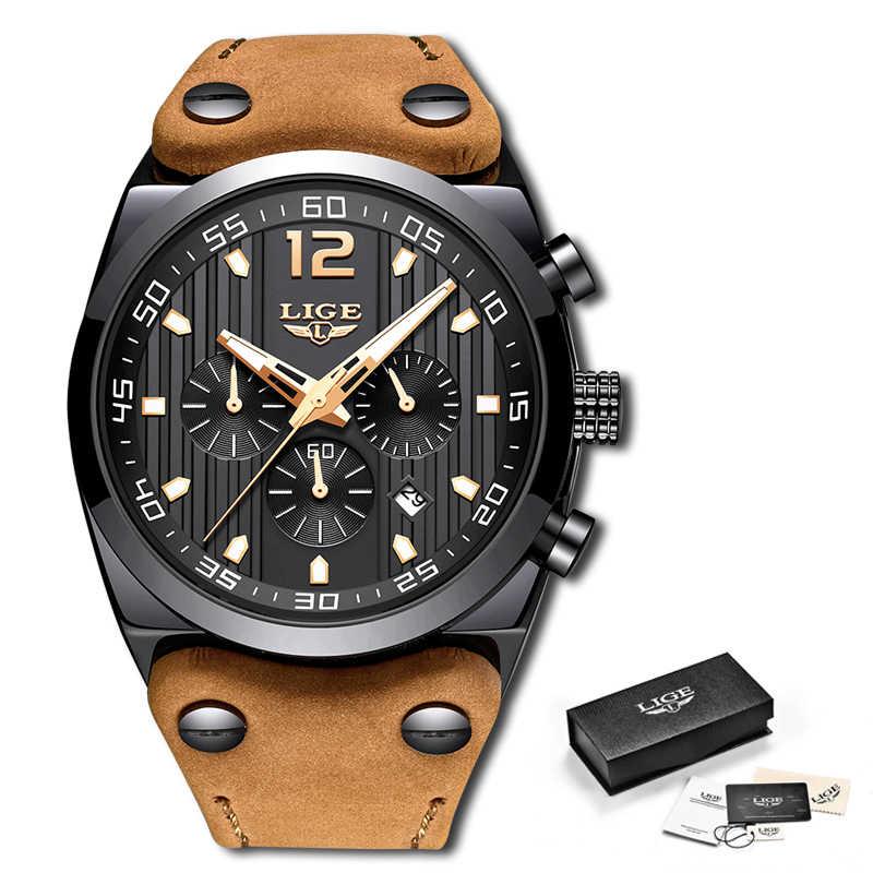 LIGE New Mens Watches Top Brand Luxury Chronograph Men Watch Leather Luxury Waterproof Sport Watch Men Male Clock Man Wristwatch