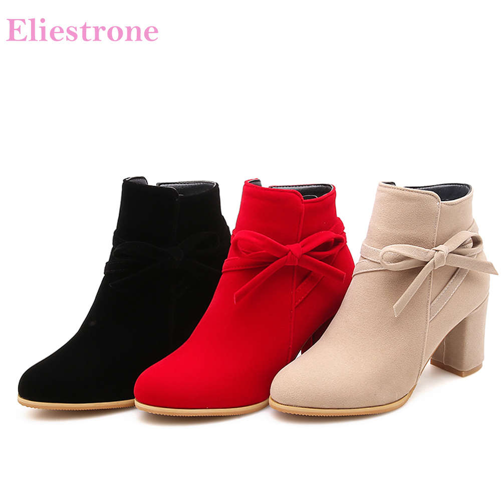 b74d577d47a Detail Feedback Questions about Brand New Winter Beige Red Women Ankle Nude  Boots Comfortable Lady Riding Shoes High Heels PB622 Plus Big Small Size 10  33 ...