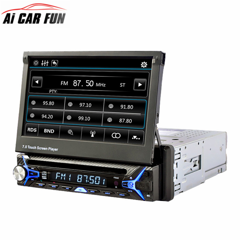 7 inch 1 DIN Retractable Touch Screen Car DVD Player Bluetooth FM/RDS Radio Tuner Detachable Panel DVD Player Auto Radio Stereo free shipping car refitting dvd frame dvd panel dash kit fascia radio frame audio frame for 2012 kia k3 2din chinese ca1016