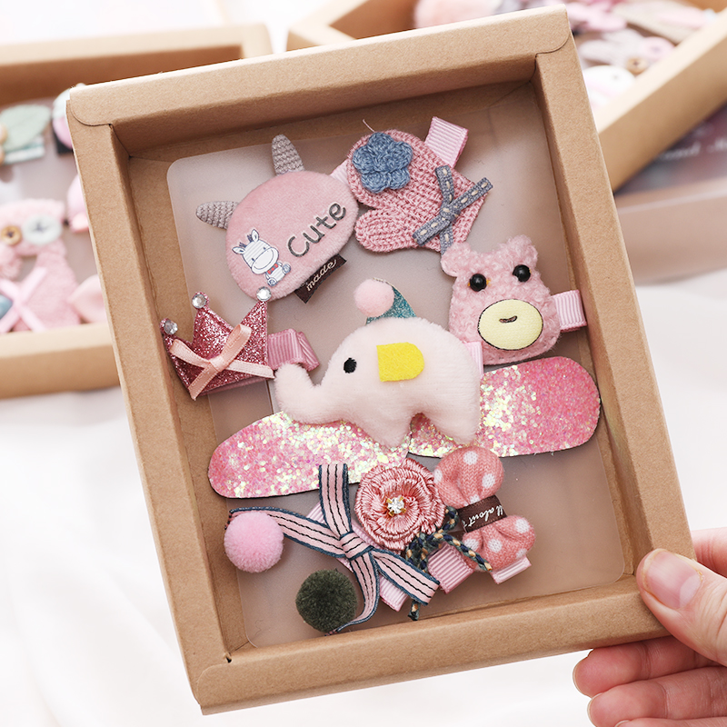 New 10PCS/Set Gift Box Cute Girls Cartoon Hair Clips Princess Lovely   Headwear   Barrettes Hairpins Kids Headbands Hair Accessories