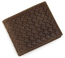 vintage coffee genuine Leather men Wallets crazy horse real leather wallet men's purses card holders coin pocket #MD-J8098