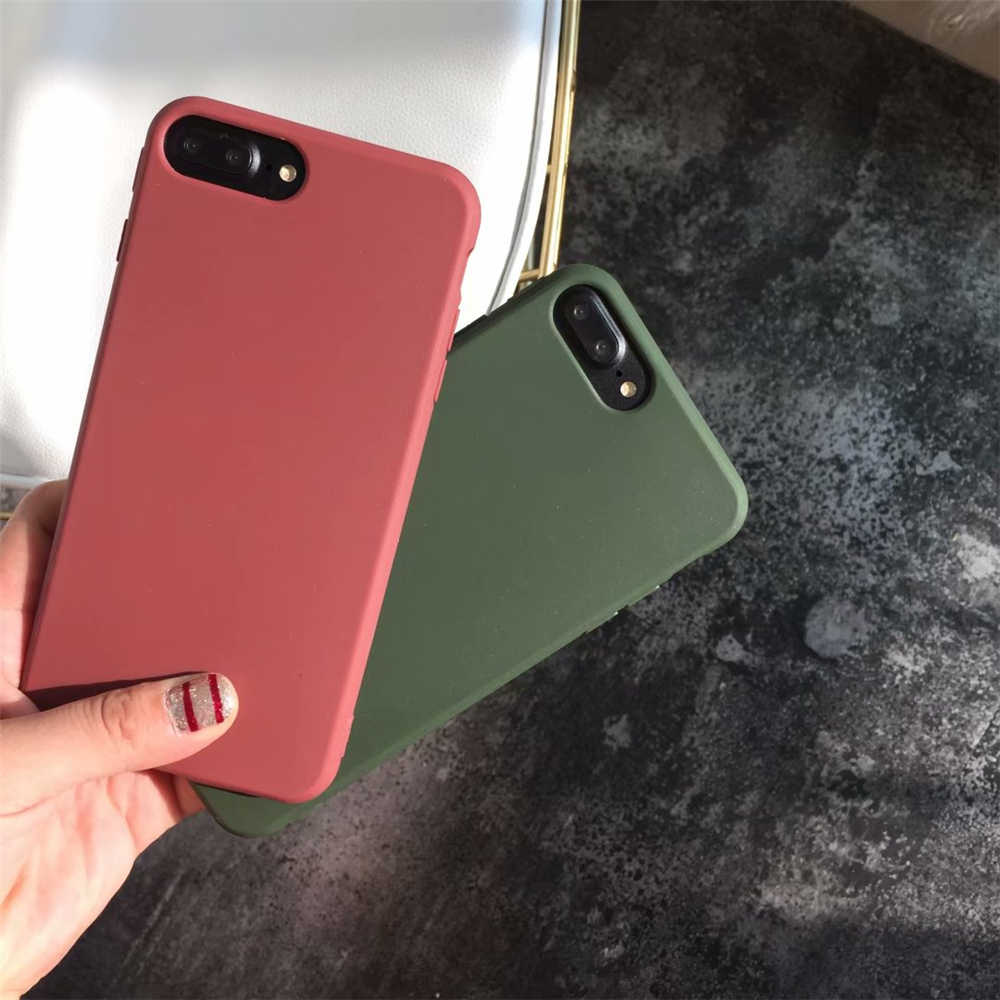 Froste TPU רך mobilephone מקרה עבור iPhone8 iPhone7 מקרה 6 6 s 5 SE 5S XS MAX XR XS X 7 בתוספת 8 בתוספת צבאי ירוק קפה מקרה