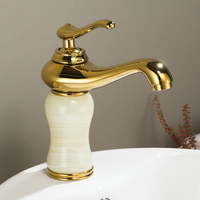 Luxury Gold Brass Natural jade Bathroom Sink Faucet Golden Art Basin Mixer Taps Single Handle Lavatory Faucet,Gold Finish SM510