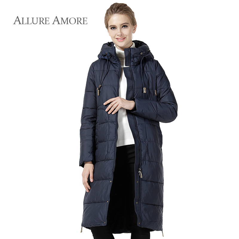 Allure Amore 2018 new arrival women coat winter jacket women office lady warm clothes long Hooded solid Hooded famous brand