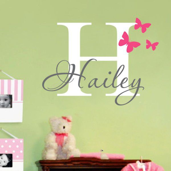 Customer made DIY Girls Name Wall Decal Butterfly Personalized Vinyl ...
