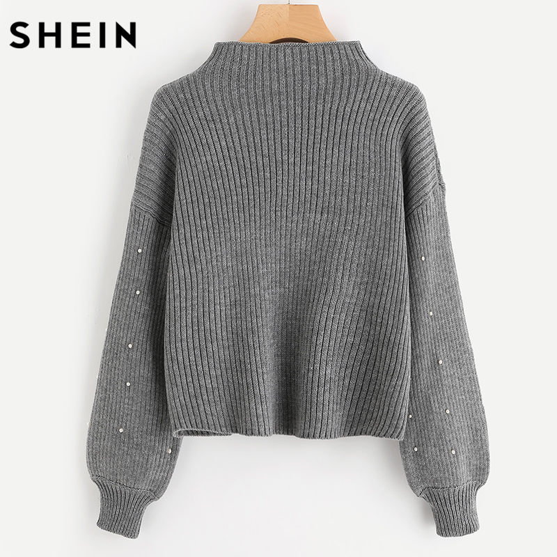 SHEIN Pearl Beaded Rib Knit Jumper Autumn Winter Womens Pullover Sweaters  Grey Stand Collar Long Sleeve Tight Sweater-in Pullovers from Women s  Clothing on ... 909e97be8