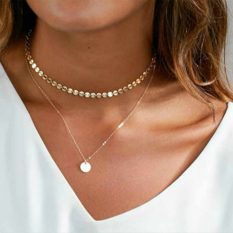 2018 Summer Simple Gold Coin Layered Choker Necklace For Women Multi Layer Chocker Necklaces collar collier ras du cou femme