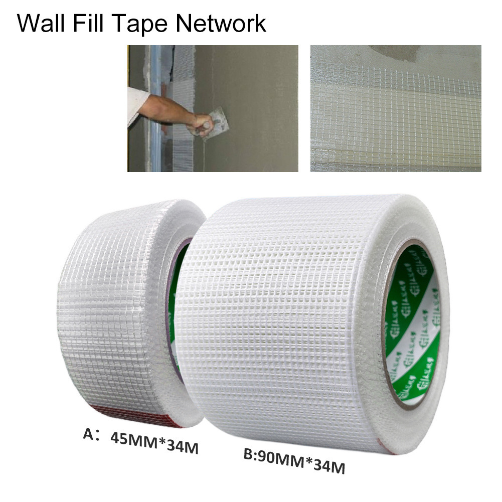 Self-Adhesive Wall Repair Reinforcement Fiber Tape Wall Cracks Decorative Mesh Seam Tape Wall Sticker Size 45mm/90mmx34m image