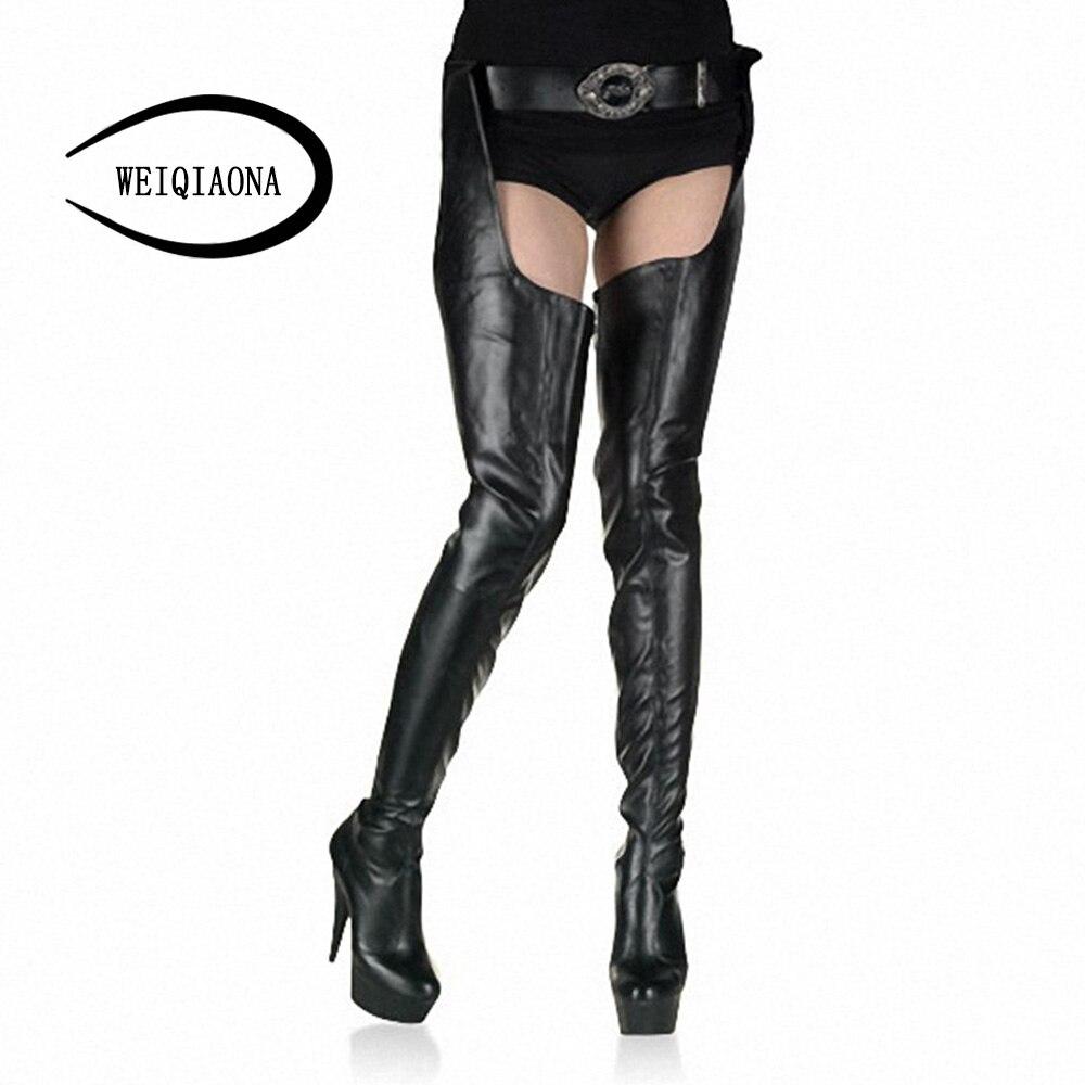Pantalones Muslo Las Mujeres Redondo Costumbre Weiqiaona Pu Sexy Damas Tacón botas Black Tela Alta Dedo pu De 2018 Pie La Botas Nueva Popular Red Del qqY4xXH