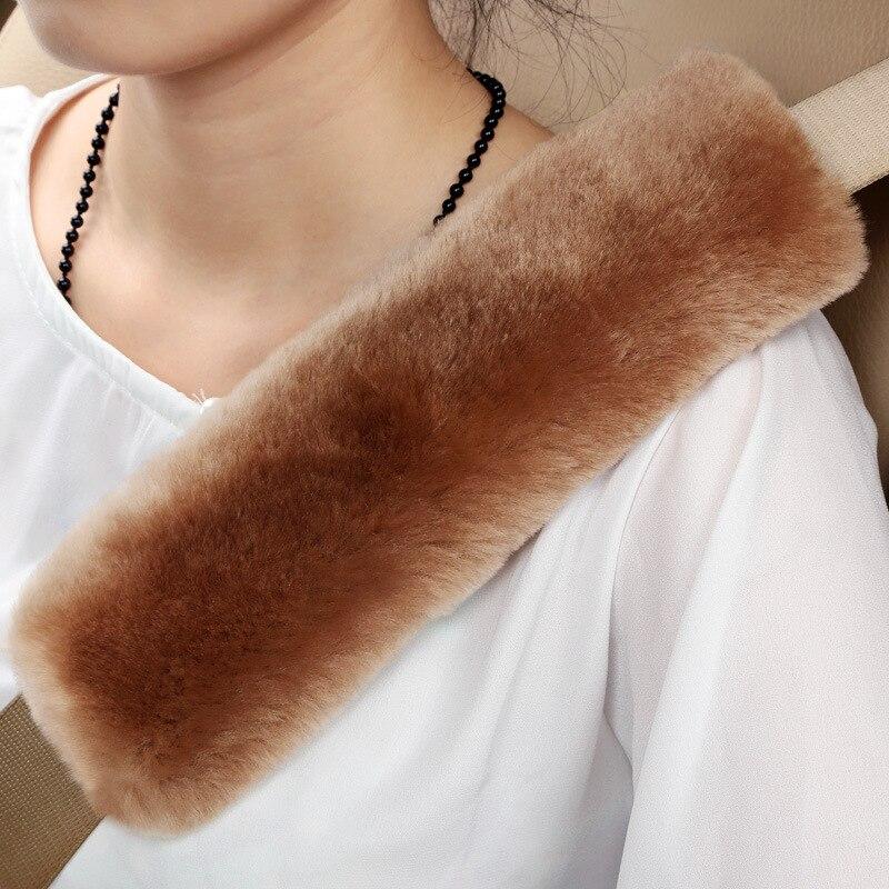 2 Packs Soft 100% Pure Wool Seat Belt Cover Shoulder Pad Neck Protector Release Shoulder Belt Strap Stress During Long Driving