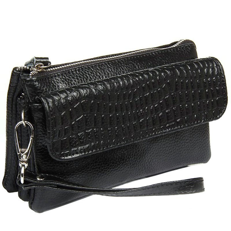 Clutch wristlet bag Genuine leather crocodile bag Free shipping 2017 NEW Large capacity strap Women Shoulder bags purse LD534