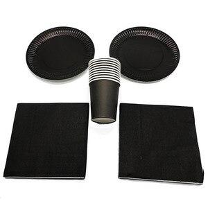 60 шт./лот одноразовые тарелки с черной темой салфетки для стаканчиков одноцветные одноразовые салфетки чашки тарелки черный набор для вече...