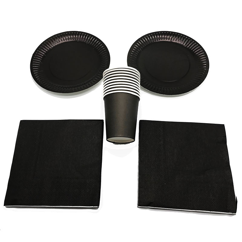 60PCS/LOT BLACK THEME DISPOSABLE PLATES CUPS NAPKINS SOLID COLOR DISPOSABLE NAPKINS CUPS PLATES BLACK PARTY SET 20 PEOPLE USE