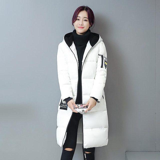 2016 new arrival algodão casaco outerwear moda de médio longo fino com capuz mulheres casaco de inverno jaqueta parka casaco feminino amassado kp1299