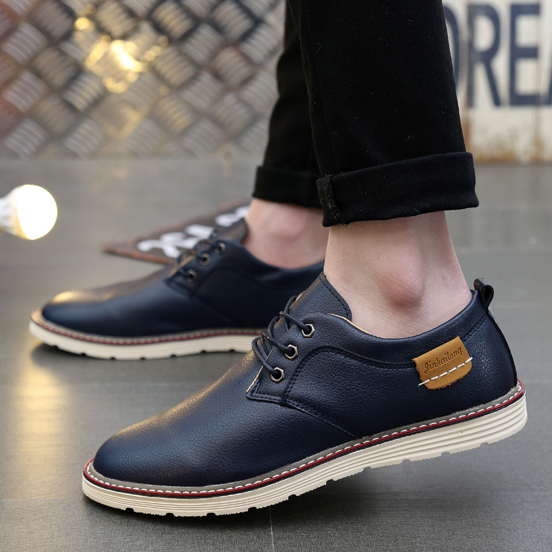 Casual Shoes Men Leather 2019 Fashion Lace Up Sneakers Men Boat Shoes Moccasins Men Footwear Chaussure Homme