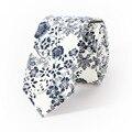 Azul Con Estilo de Los Hombres de la Vendimia Floral Corbata Azul y Blanco algodón Ocasional de La Manera Flor Del Banquete de Boda Corbatas Lazos para Hombre lazos