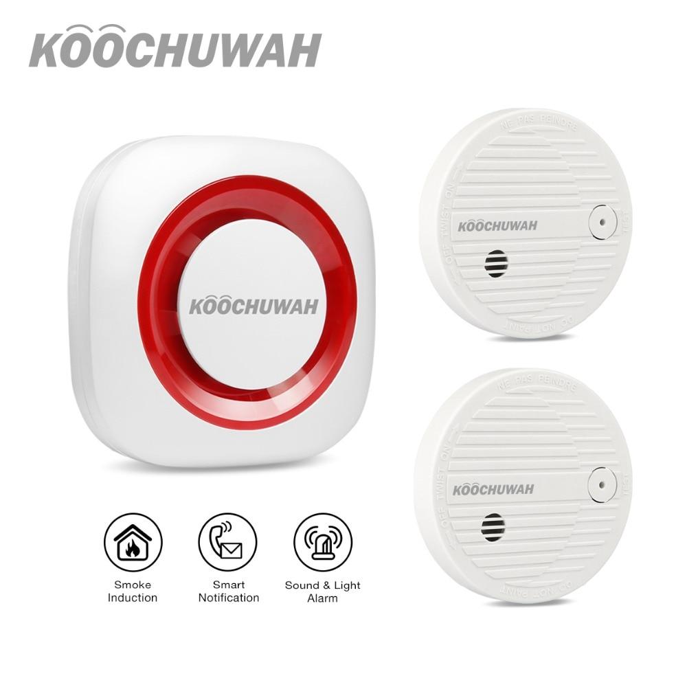 KOOCHUWAH Wireless Fire Smoke Detector Sensor First Alert Smoke Alarm Beeping SMS Auto Dail Cigarette Smoke Alarm Generator