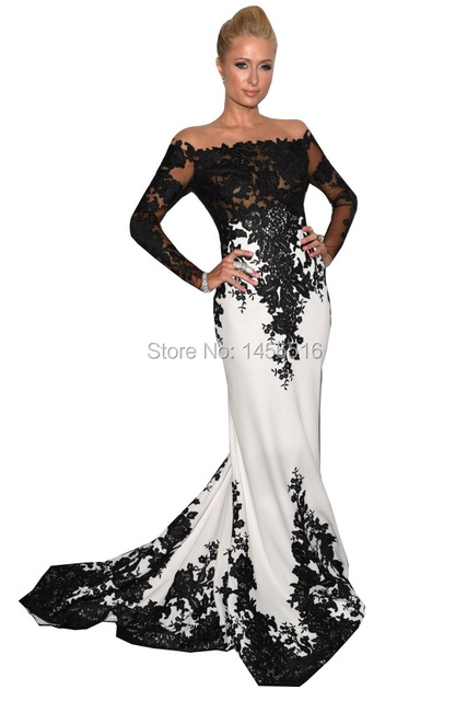 711W 2017 Sexy Paris Hiton Long Gowns Appliques Red Carpet Formal Dress Long Sleeves O-neck Black White Celebrity Dresses