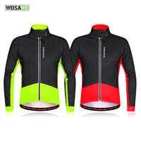 WOSAWE 秋冬の熱フリース防風ソフトシェルジャケットの男性女性屋外スポーツウェアサイクリングジャケット