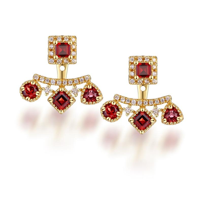 ANI 925 Sterling Silver Women Drop Earrings Natural Garnet Wedding Fine Jewelry Elegant Dangle Earrings Elegant Bijoux for Women pair of elegant spiral tiered rhinestone dangle earrings