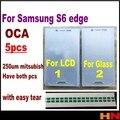 5 unids 250um OCA Óptico Borrar Pegamento Adhesivo de la Película Para Samsung Galaxy S6 edge Etiqueta Engomada Lateral Doble PANTALLA LCD y el cristal tiene dos tipos