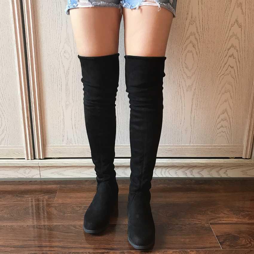 2018 kobiety udo wysokie buty over the knee buty motocyklowe zimowe i jesienne buty damskie plus rozmiar 4-11 botas mujer femininas