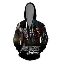 2019 Movie Avengers 3D Print Zipper Hoodie Super Hero Jacket Costume