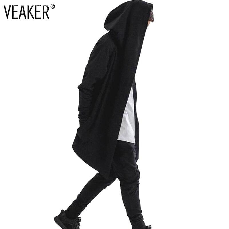 2019 Mens Hip Hop Hoodies Sweatshirts Men Black Mantle Cloak Hooded Gown Jacket Long Sleeve Coat Streetwear Hoodie Plus Size 3XL