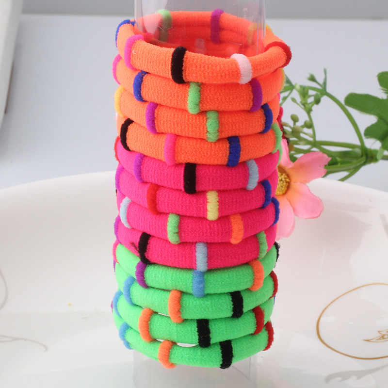 1Pack=12Pcs Candy Color Elastic Headband Hair Rope Rubber Bands Three Colors Scrunchy Hair Accessories Gum For Girl Kid Ponytail