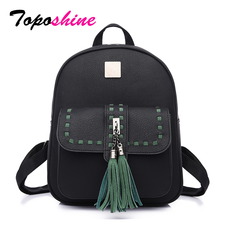 Toposhine 2017 Retro Panelled Women Backpacks Fashion PU Leather Lady Girls Popular Cute School Bags 1741