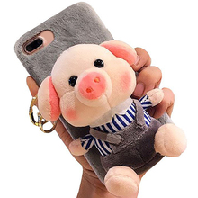 Cartoon Doll Toy Piggy Phone Case, 3d Cute Stripes Plush Strap Pig Soft Cover with Bracket Stand for 6 6s Case