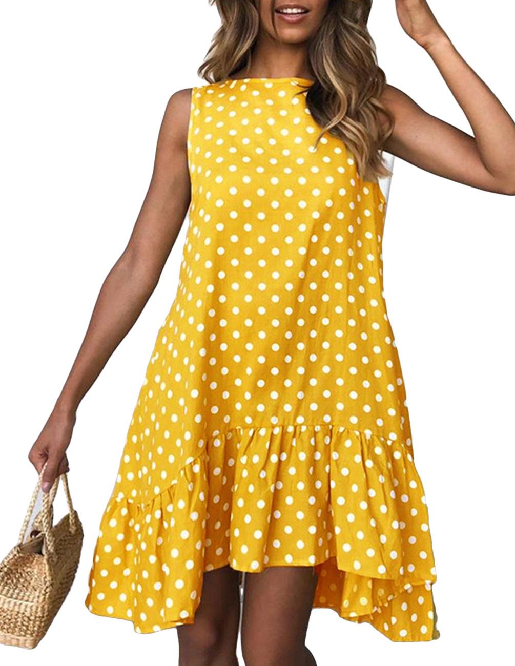 Summer Women Ruffled V collar Sleeveless Sling Dress Popular Polka Dot Prints Irregular Ruffled Holiday Vestidos in Dresses from Women 39 s Clothing