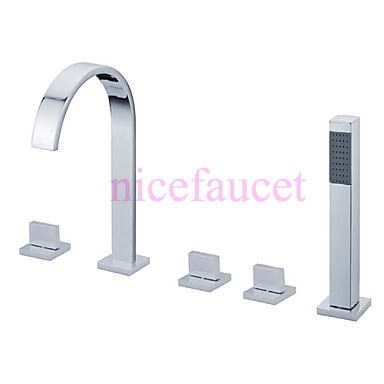 Modern Widespread Brass bathTub Faucet  Handheld Shower  Chrome Finish tap free shipping polished chrome finish new wall mounted waterfall bathroom bathtub handheld shower tap mixer faucet yt 5333