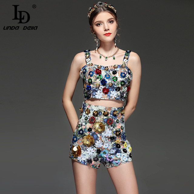 ae4305122e8ed US $68.99 |LD LINDA DELLA Summer Runway Tow Piece Suit Set Women's Holiday  Party Crystal Beading Sequin Jacquard Print Vintage Shorts Set-in Women's  ...