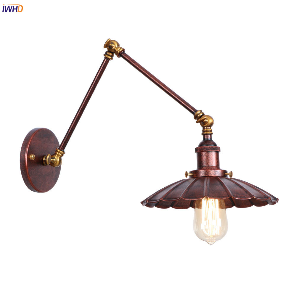 Iwhd Rust Antique Vintage Wall Lamp Living Room Loft Adjustable Swing Long Arm Wall Light Sconce Edison Style Lighting Luminaire 100% Original Led Lamps