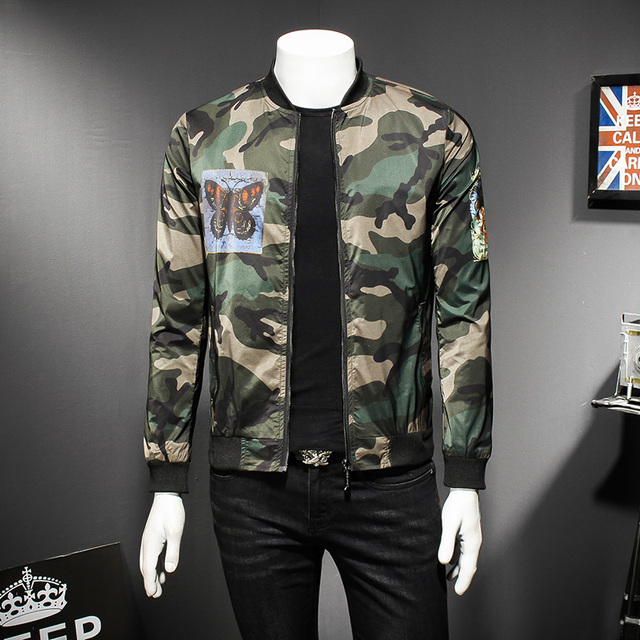 20e3a2791dc73 Camo Jacket Men Camouflage Fashion Casual Stand Collar Bomber Jackets Men  High Quality Military Jacket Male