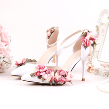 5a3f97cea62fab Shoes Adults Sandals Wedding Pink Silks Satins Bridal Shoes Pointed Toe  Ultra High Heels Lace Flower
