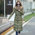 KUYOMENS Novas mulheres jaqueta moda inverno para baixo jaqueta de algodão manga comprida Magro grande gola de pele com capuz casaco de inverno mulheres parka