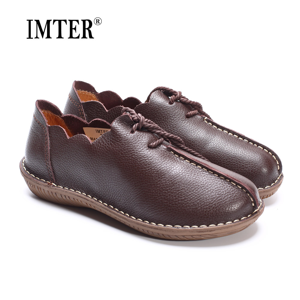 Women Flat Shoes 100% Genuine Leather Ladies Flat Shoes Casual Lace up Moccasins Shoes Female Footwear (568-3) women shoes flat genuine leather hand made ladies flat shoes black brown coffee casual lace up flats woman moccasins 568 5
