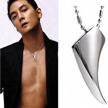 Yisoso Fashion Men's Necklace 316L Stainless Steel Wolf Tooth Necklace Animal Pendant Necklaces 316L Stainless Steel Jewelry