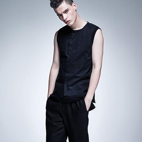 Simple Sleeveless Linen Vest Suits For Men Casual Veste Homme Mens Black Waistcoat Men Undershirt Front Short Back Long Newstyle