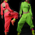 2016 New fashion women Neon harem pants loose casual female hip hop trousers ds performance costumes dance jazz pants