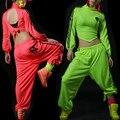 2016 nova moda feminina Neon harém calças soltas casuais hip hop feminino calças trajes de desempenho ds dança calças de jazz
