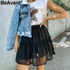 Image 3 - BeAvant Boho summer pleated mini skirts womens High waist polka dot short skirt pink A line floral printed ruffle chiffon skirts