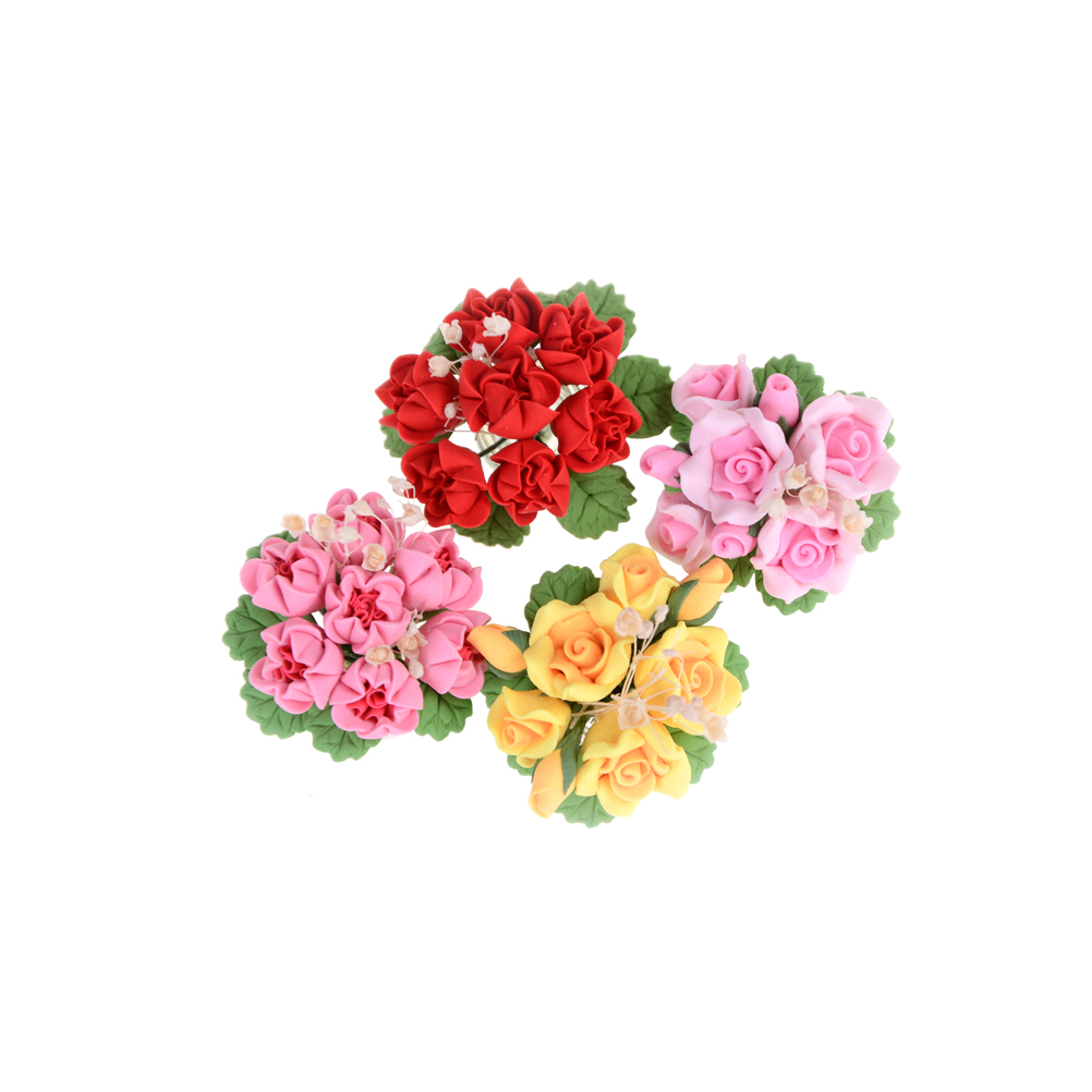12 Pcs Handmade Miniature Red Carnation Clay Flowers Decorative Dollhouse