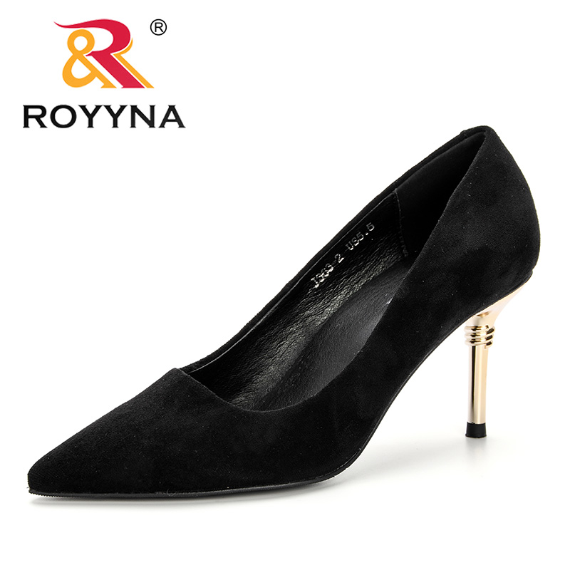 ROYYNA New 2019 Women Shoes High Heels Pumps Flock Pointed Toe Pump Fashionable Wedding Shoes Spring Autumn Basic Dress ShoesROYYNA New 2019 Women Shoes High Heels Pumps Flock Pointed Toe Pump Fashionable Wedding Shoes Spring Autumn Basic Dress Shoes